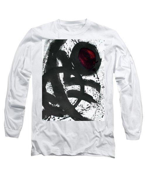 Ink On Paper Rose #2 Vertical Ink Landscape Original Fine Art Ink On Paper Long Sleeve T-Shirt
