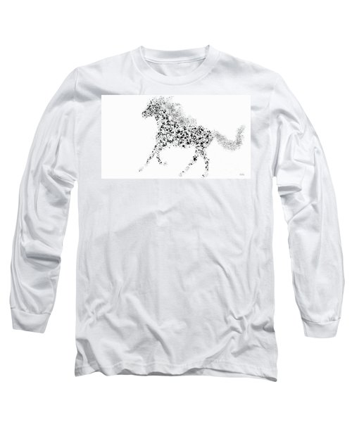 Long Sleeve T-Shirt featuring the drawing Ink Splattered Stallion by Nick Gustafson