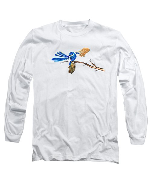 Inked Blue Fairy Wren Long Sleeve T-Shirt