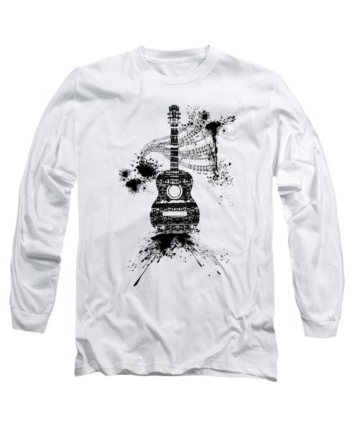 Inked Guitar Transparent Background Long Sleeve T-Shirt by Barbara St Jean