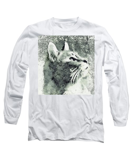 Inquisitive Cat Gray Scale Long Sleeve T-Shirt