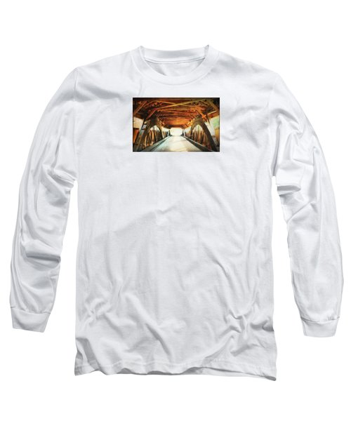 Inside A Covered Bridge Long Sleeve T-Shirt by Robin Regan