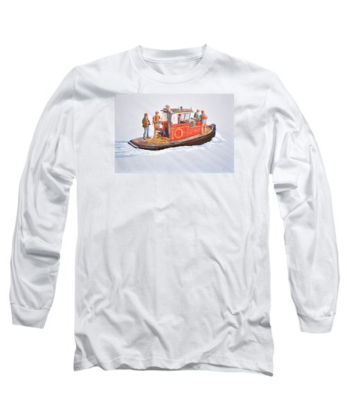 Long Sleeve T-Shirt featuring the painting Into The Mist-the Crew Boat by Gary Giacomelli