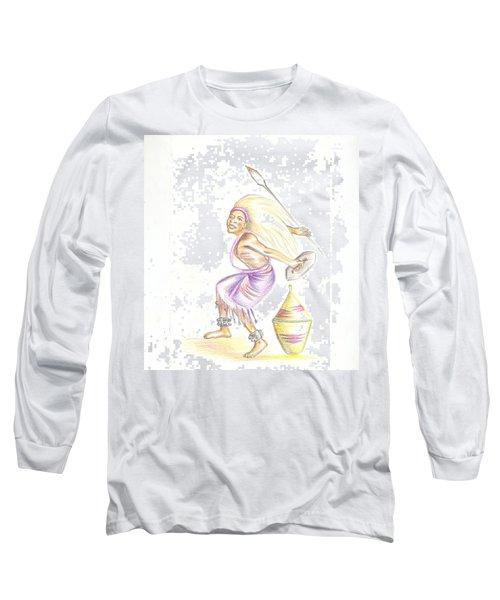 Long Sleeve T-Shirt featuring the painting Intore Dance 2 From Rwanda by Emmanuel Baliyanga