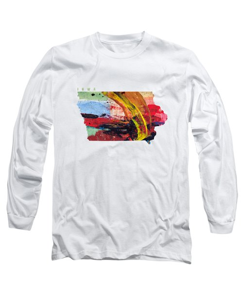 Iowa Map Art - Painted Map Of Iowa Long Sleeve T-Shirt