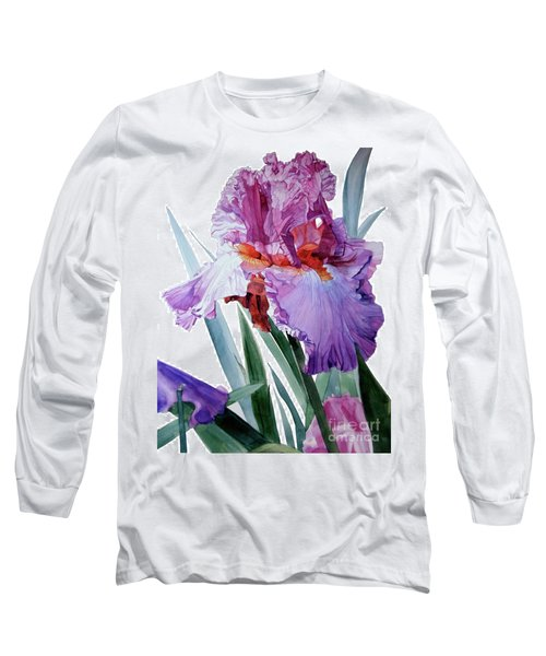 Watercolor Of A Tall Bearded Iris In Pink, Lilac And Red I Call Iris Pavarotti Long Sleeve T-Shirt