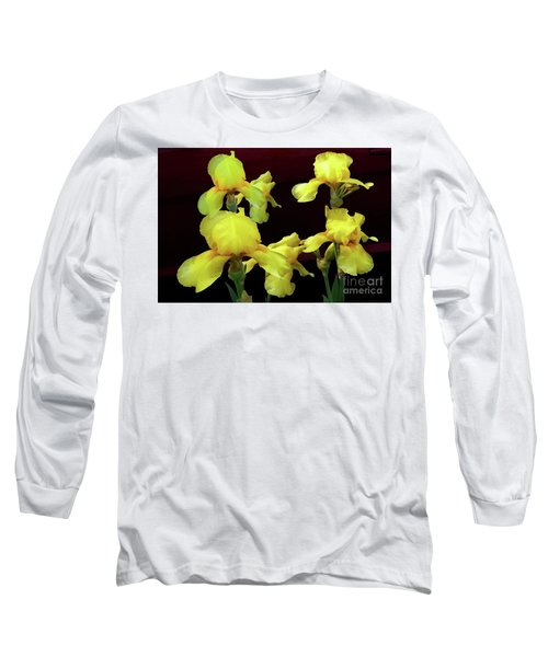Irises Yellow Long Sleeve T-Shirt by Jasna Dragun