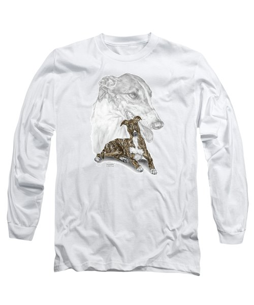 Irresistible - Greyhound Dog Print Color Tinted Long Sleeve T-Shirt by Kelli Swan