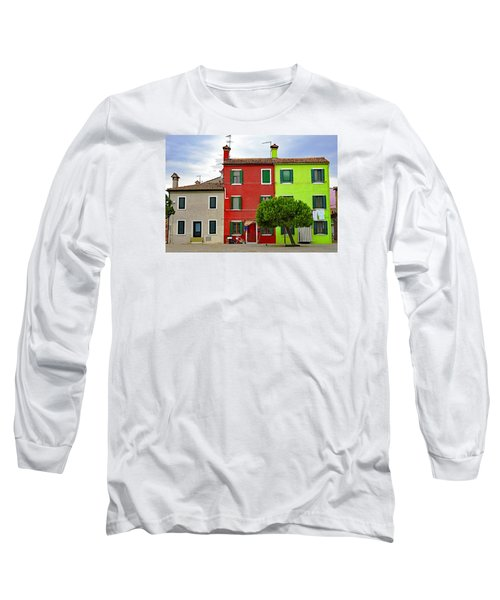 Island Of Burano Tranquility Long Sleeve T-Shirt by Richard Rosenshein