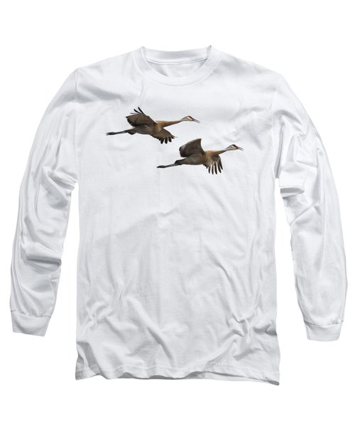 Isolated Sandhill Cranes 2016-1 Long Sleeve T-Shirt by Thomas Young
