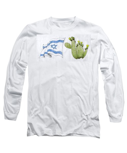 Long Sleeve T-Shirt featuring the drawing Israel by Annemeet Hasidi- van der Leij