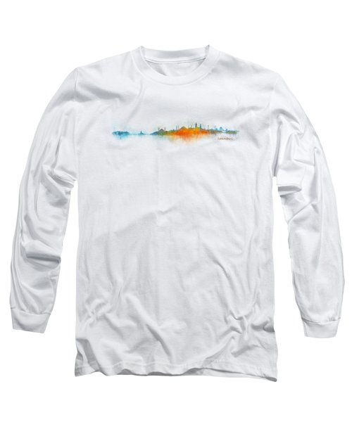 Istanbul City Skyline Hq V03 Long Sleeve T-Shirt by HQ Photo