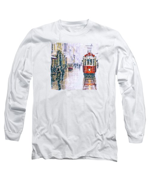 Istanbul Nostalgic Tramway Long Sleeve T-Shirt by Marian Voicu