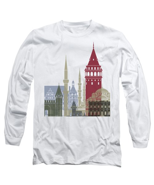 Istanbul Skyline Poster Long Sleeve T-Shirt by Pablo Romero