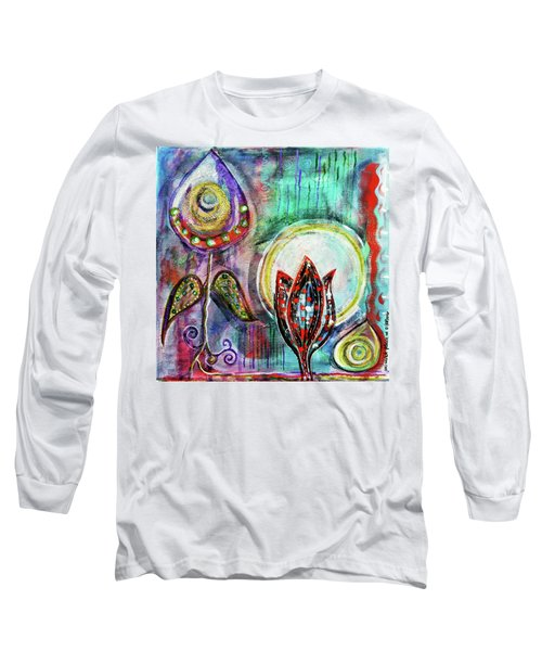 Long Sleeve T-Shirt featuring the mixed media It's Connected To The Moon by Mimulux patricia no No