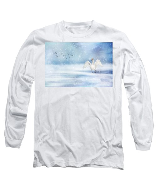 Long Sleeve T-Shirt featuring the photograph It's Snowing by Annie Snel