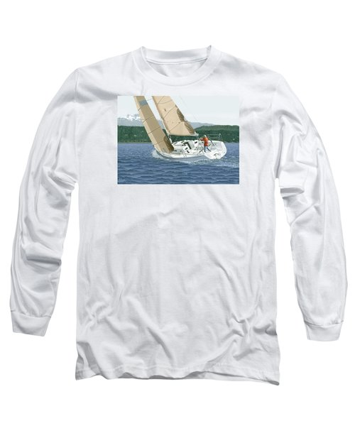 Long Sleeve T-Shirt featuring the painting J-109 Sailboat Off Comox B.c. by Gary Giacomelli