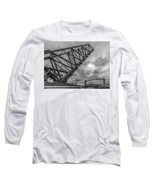 Jackknife Bridge To The Clouds B And W Long Sleeve T-Shirt