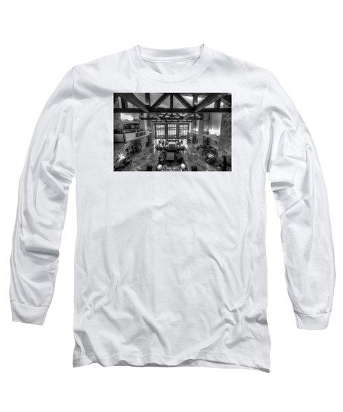 Jackson Lake Lodge Grand Tetons B W Long Sleeve T-Shirt