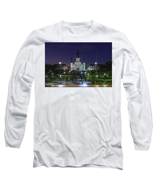 Jackson Square And St. Louis Cathedral At Dawn, New Orleans, Louisiana Long Sleeve T-Shirt