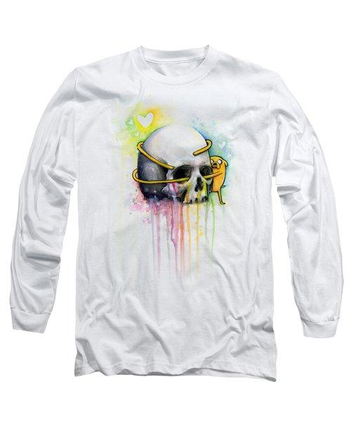 Jake The Dog Hugging Skull Adventure Time Art Long Sleeve T-Shirt