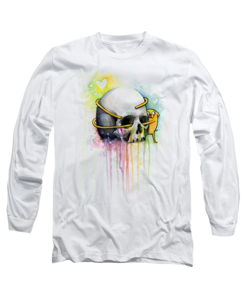 Jake The Dog Hugging Skull Adventure Time Art Long Sleeve T-Shirt