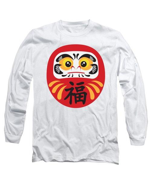 Japanese Daruma Doll Illustration Long Sleeve T-Shirt