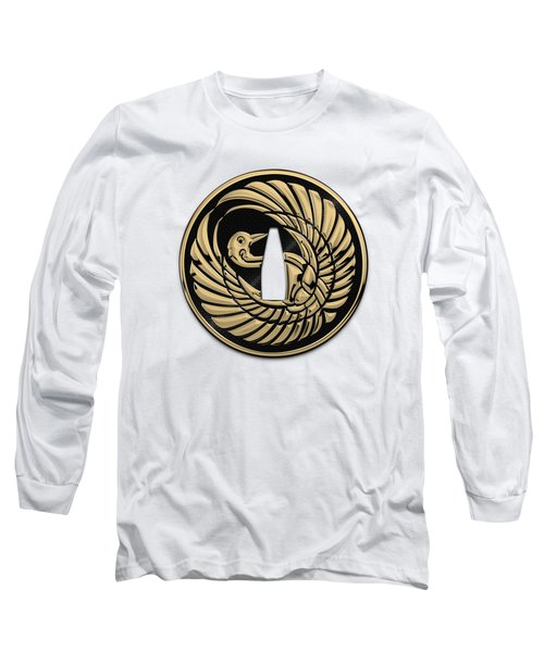 Japanese Katana Tsuba - Golden Crane On Black Steel Over White Leather Long Sleeve T-Shirt