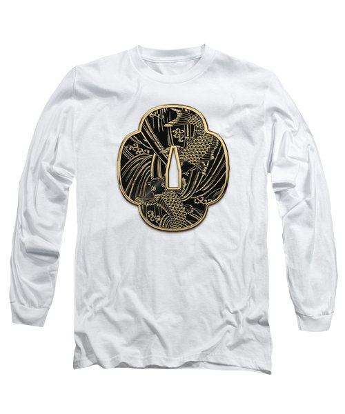 Japanese Katana Tsuba - Golden Twin Koi On Black Steel Over White Leather Long Sleeve T-Shirt