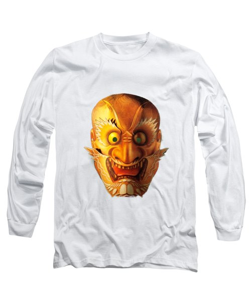 Japanese Mask Cutout Long Sleeve T-Shirt by Linda Phelps