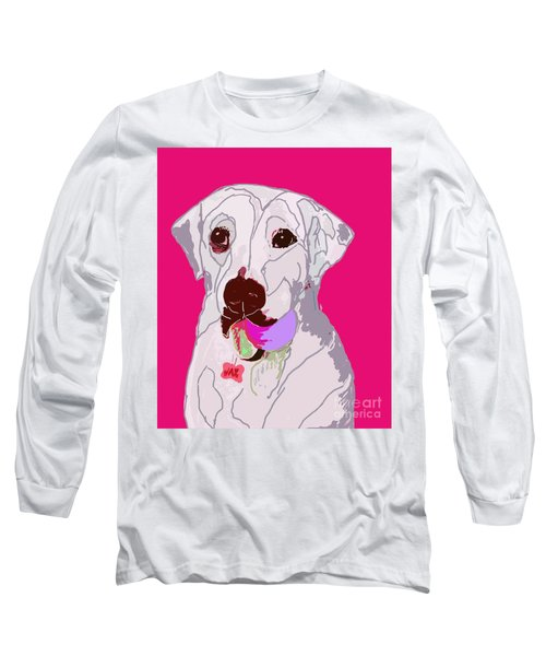 Jax With Ball In Pink Long Sleeve T-Shirt