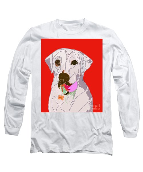 Jax With Ball In Red Long Sleeve T-Shirt