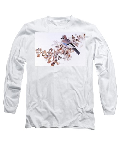 Jay On A Dried Oak Branch Long Sleeve T-Shirt
