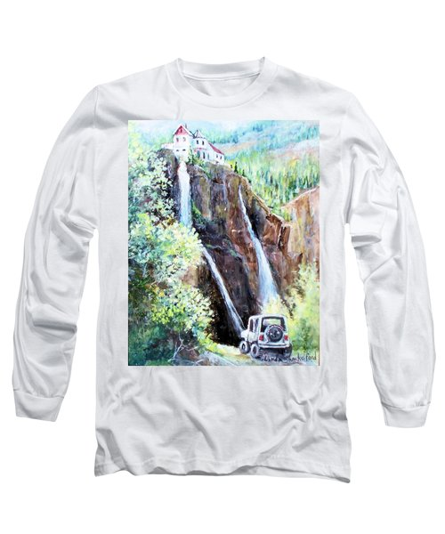Jeeping At Bridal Falls  Long Sleeve T-Shirt by Linda Shackelford