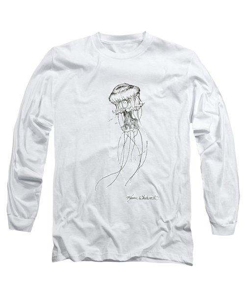 Jellyfish Sketch - Black And White Nautical Theme Decor Long Sleeve T-Shirt