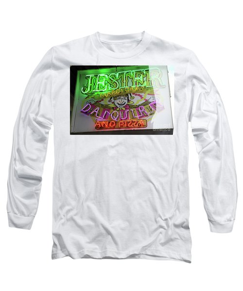 Long Sleeve T-Shirt featuring the photograph Jester Mardi Gras Sign by Steven Spak