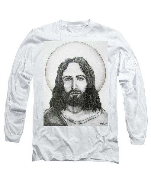 Long Sleeve T-Shirt featuring the drawing Jesus Christ by Michael  TMAD Finney