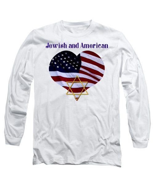 Jewish And American Flag With Star Of David Long Sleeve T-Shirt by Rose Santuci-Sofranko