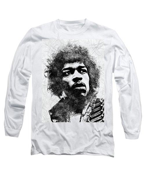 Jimi Hendrix Bw Portrait Long Sleeve T-Shirt