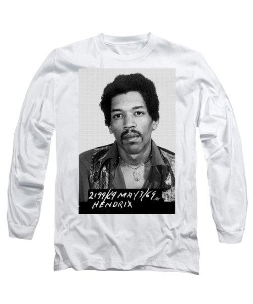 Jimi Hendrix Mug Shot Vertical Long Sleeve T-Shirt