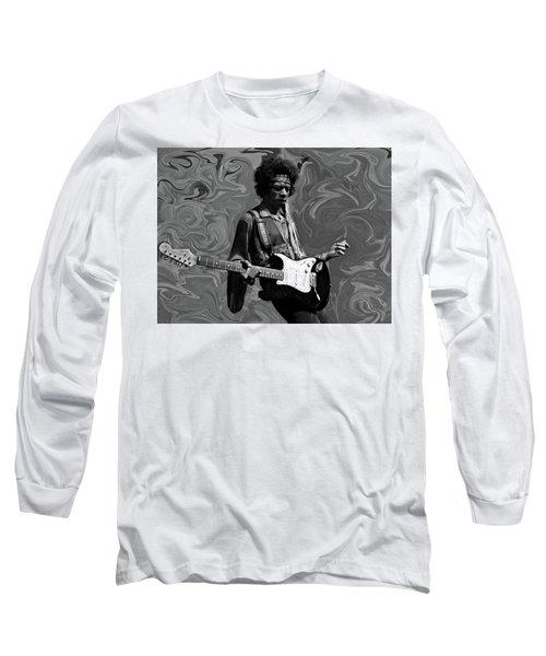 Long Sleeve T-Shirt featuring the photograph Jimi Hendrix Purple Haze B W by David Dehner