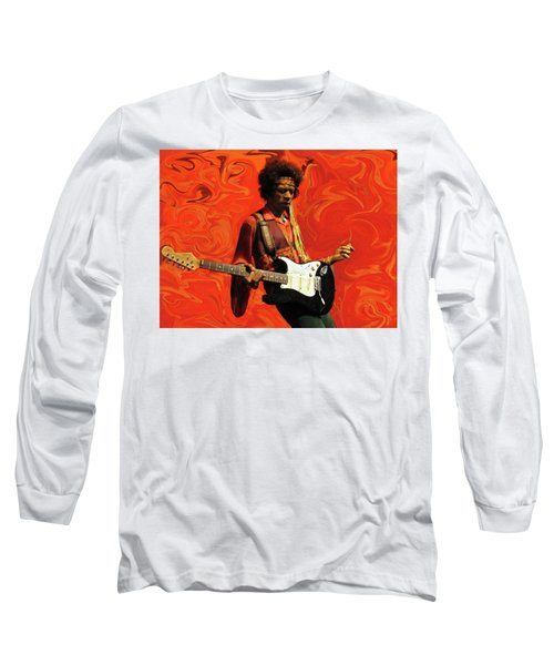 Long Sleeve T-Shirt featuring the photograph Jimi Hendrix Purple Haze Orange by David Dehner