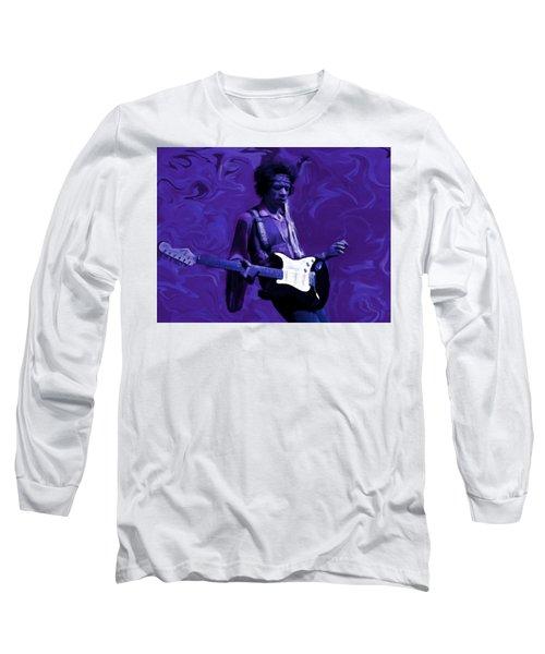 Long Sleeve T-Shirt featuring the painting Jimi Hendrix Purple Haze P D P by David Dehner