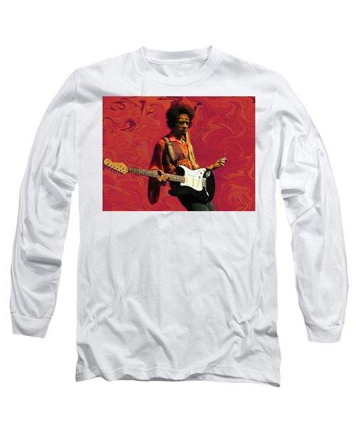 Long Sleeve T-Shirt featuring the photograph Jimi Hendrix Purple Haze Red by David Dehner