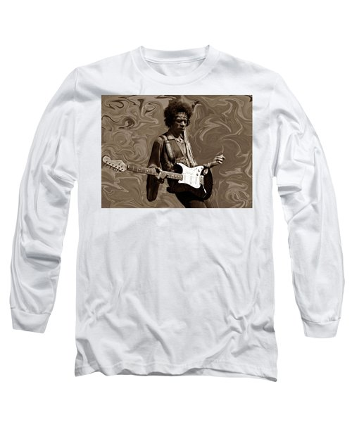 Long Sleeve T-Shirt featuring the photograph Jimi Hendrix Purple Haze Sepia by David Dehner