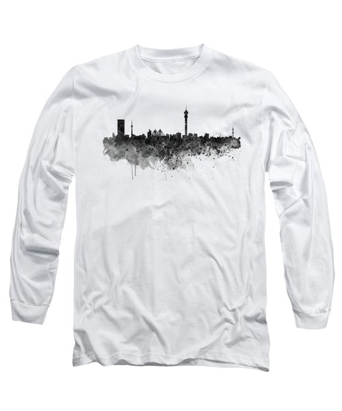 Johannesburg Black And White Skyline Long Sleeve T-Shirt