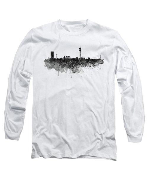 Johannesburg Black And White Skyline Long Sleeve T-Shirt