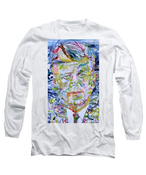 Long Sleeve T-Shirt featuring the painting John F. Kennedy - Watercolor Portrait.2 by Fabrizio Cassetta