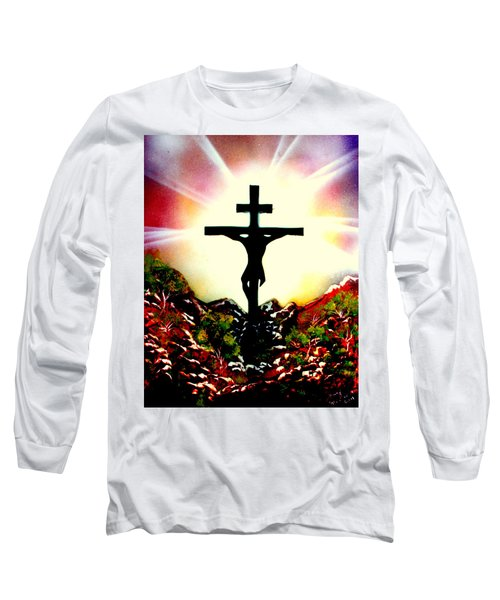 Long Sleeve T-Shirt featuring the painting John Three Sixteen E by Greg Moores