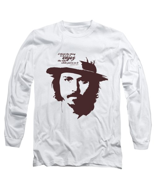 Johnny Depp Minimalist Poster Long Sleeve T-Shirt by Lab No 4 - The Quotography Department